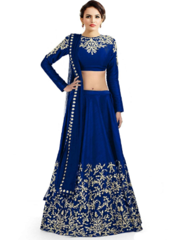 All-Blue lehenga choli with silver embellishments 1