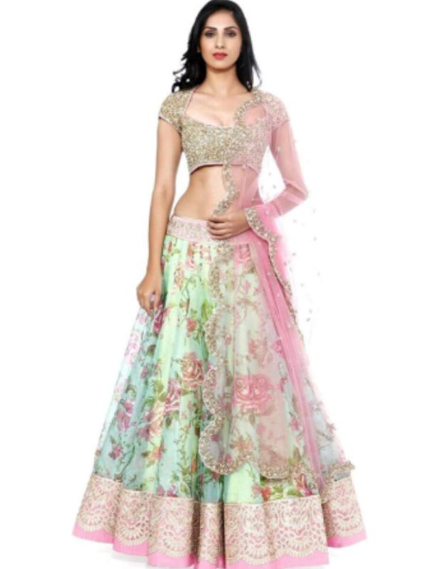 Top 10 Lahenga Choli Evergreen Design Trends - Multicoloured with gold embellished lehenga choli 1