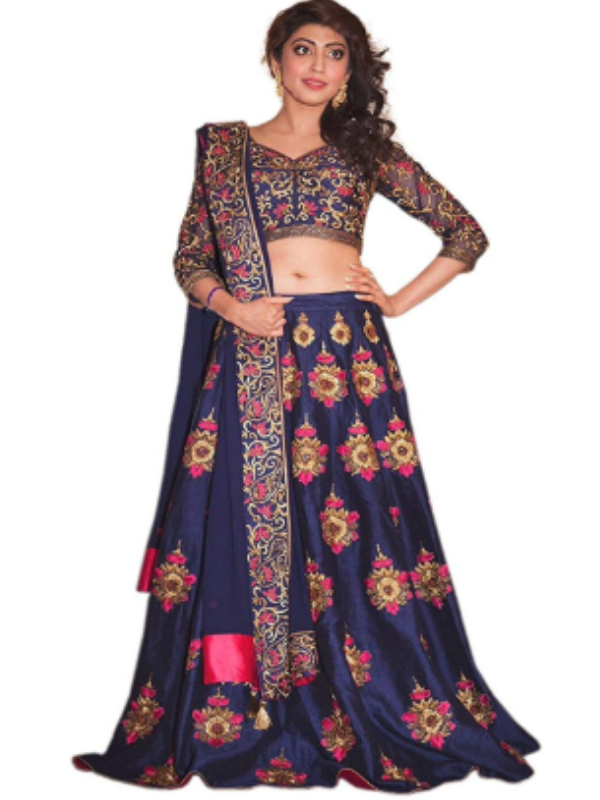 Top 10 Lahenga Choli Evergreen Design Trends - Royal blue with golden pair 2