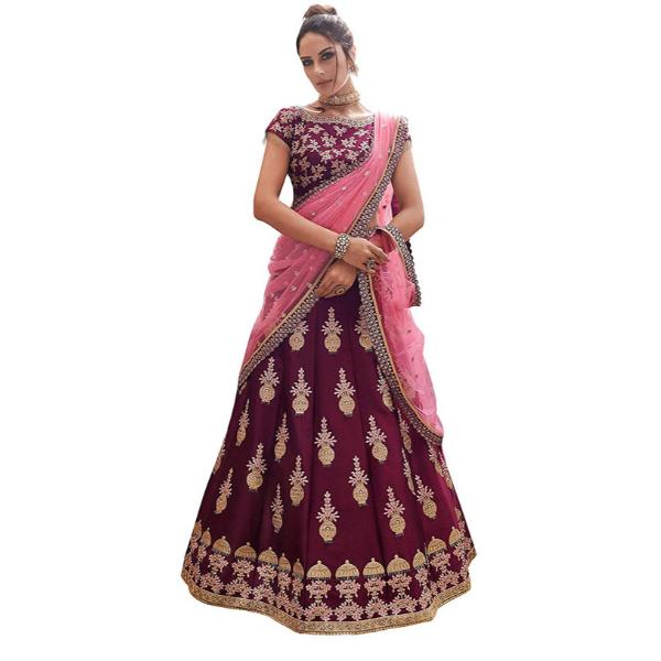Designer Semi Stitched Satin Silk Lehenga Choli