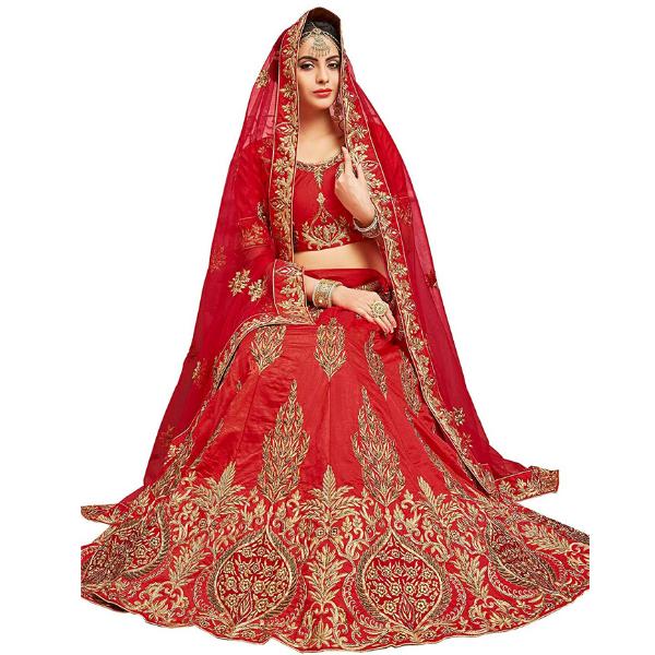 Red Color Pure Silk Weaving Semi-Stitched Lehenga Choli