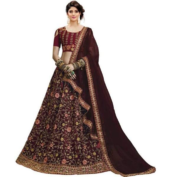 Satin Silk Semi Stitched lehenga choli