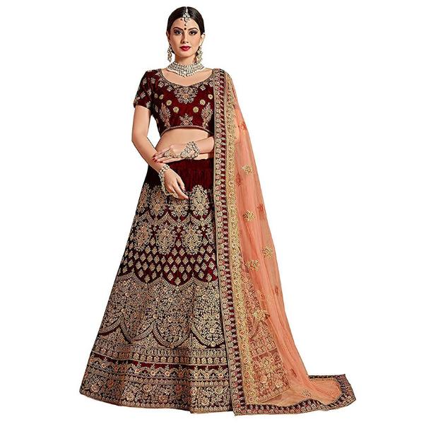 Velvet and Net Bridal Lehenga Choli