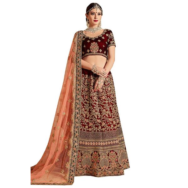 Velvet and Net lehenga choli for women for bride