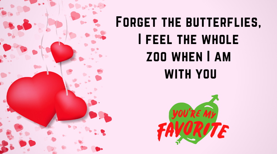 Cute Love Quotes for Him From the Heart-Forget the butterflies, I feel the whole zoo when I am with you
