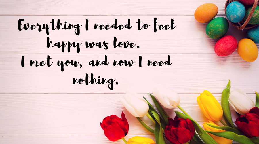 Love Quotes for Him and Her-Everything I needed to feel happy was love. I met you, and now I need nothing