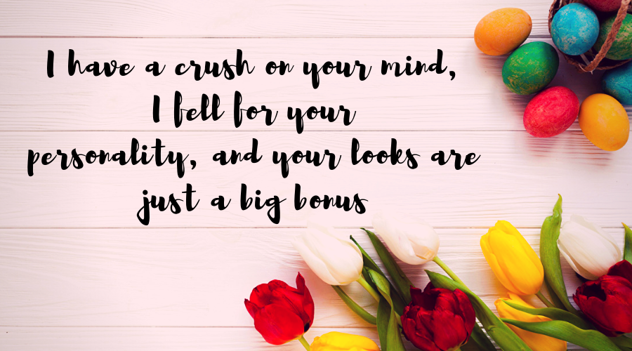 Love Quotes for Him and Her-I have a crush on your mind, I fell for your personality, and your looks are just a big bonus